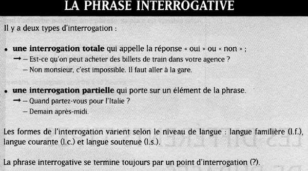 типы предложений французский язык