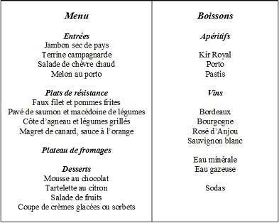 меню на французском