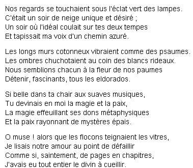 Стихи на французском: Un soir de neige