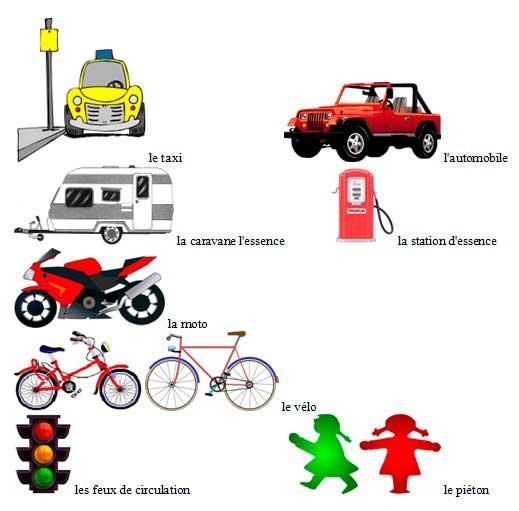 французская лексика в картинках, тема транспорт